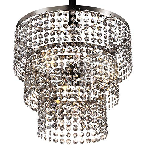 Luxurious K9 Crystal Chandelier with 3 Circle Octagon Shape Crystal Lighting Fixture Pendant Lamp for Dining Room Bathroom Bedroom Living-Room 3 E26 LED Bulbs (Transparent Pewter) ()