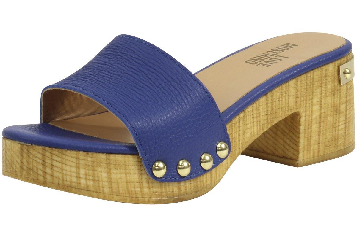 Love Moschino Women's Metal Rivet Blue Heels Sandals Shoes Sz: 9