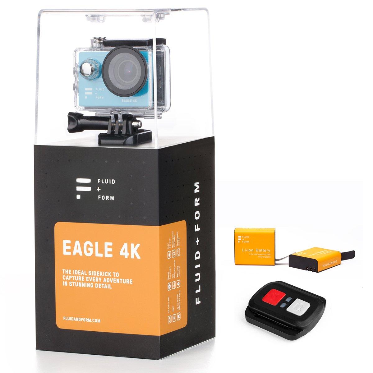Action-Kamera - Action Cam 4K von FLUID & FORM - Schnelle und einfache WIFI & iSmart App - Praktische 2,4 G-Fernbedienung - Langlebige 1350 mAh Batterien (2 Batterien enthalten)