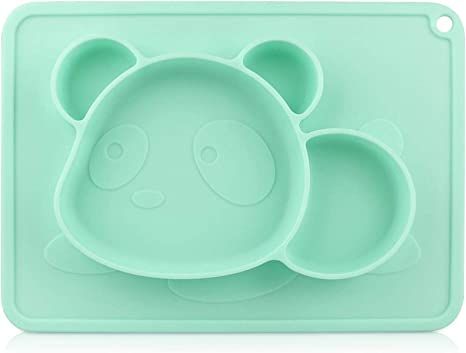 Green Kids and Children Non Slip Silicone Toddlers Placemat with Suction Cups for Babies RIGHTWELL Baby Suction Placemat BPA Free Kids Plates Childrens Plates