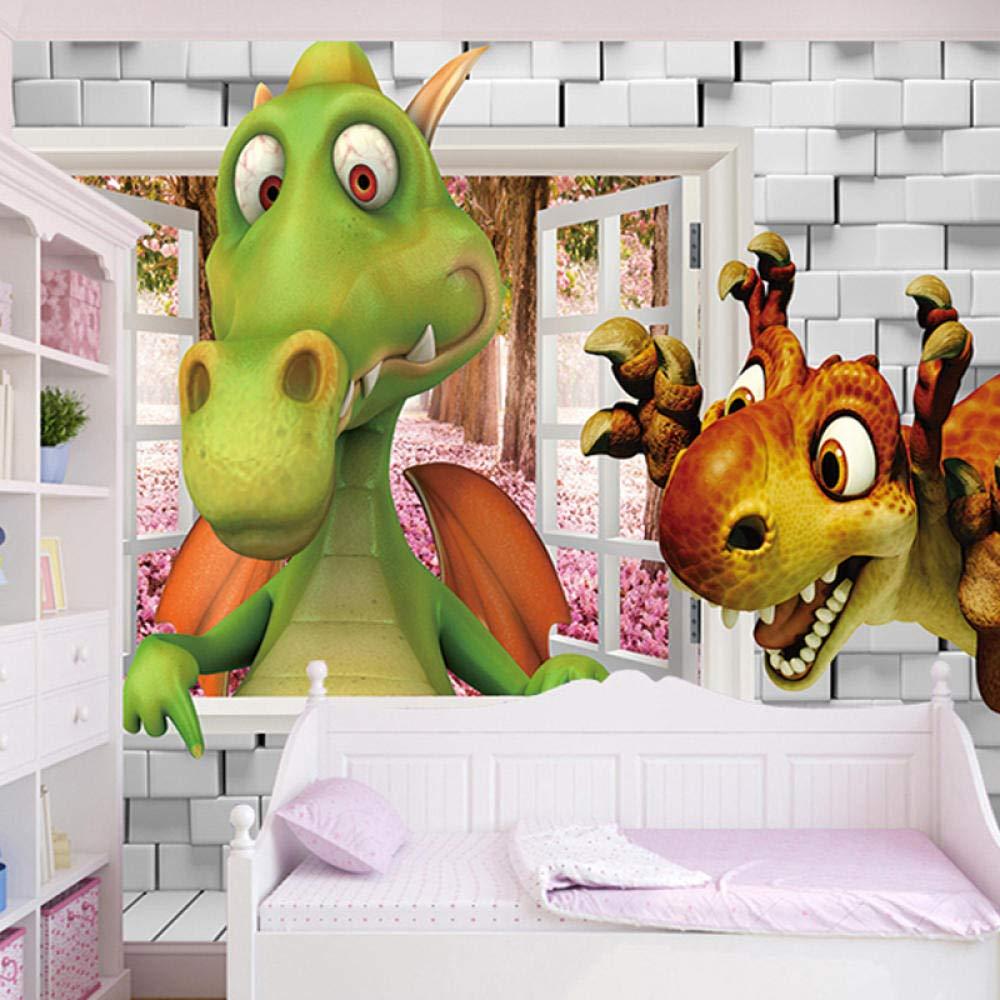 200x H W MGQSS Papel tapiz autoadhesivo mural 3D Papel tapiz fotogr/áfico para habitaci/ón infantil en 3D Dibujos animados en 3D lindo dinosaurio ladrillo habitaci/ón para ni/ños dormitorio decora 150 cm