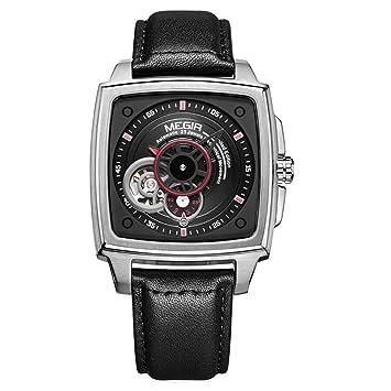 Megir Relojes para Hombre Automático De Primera Marca Hombres De Lujo Relojes Fecha Mes Flying Tourbillon Reloj Mecánico 62042,Silver: Amazon.es: Deportes y ...
