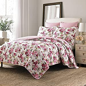 2pc pink red ivory green floral twin quilt set cotton rose flower themed classic vintage bedding pretty traditional french country synthetic fiber