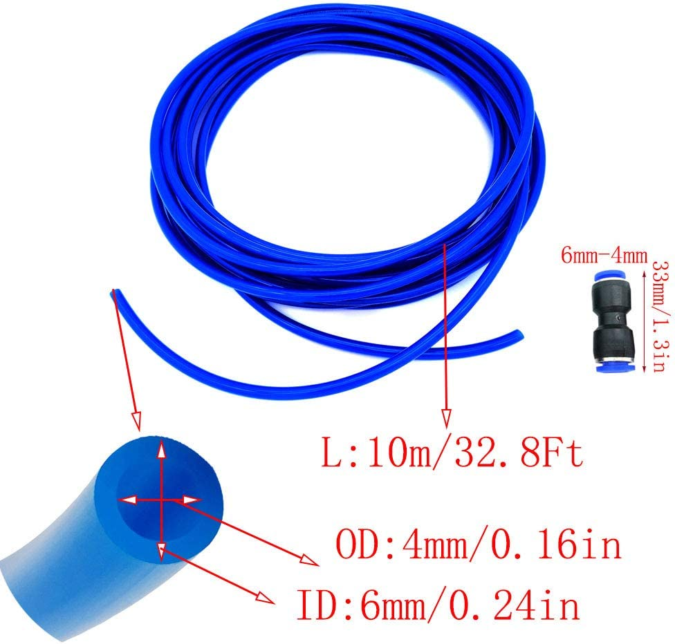 Her Kindness Polyur/éthane PU Pneumatique Tuyau,PU Tuyau air 10 m/ètre ID 4mm x 6mm OD PU Tuyau,avec 2 Connecteur Pneumatique Bleu
