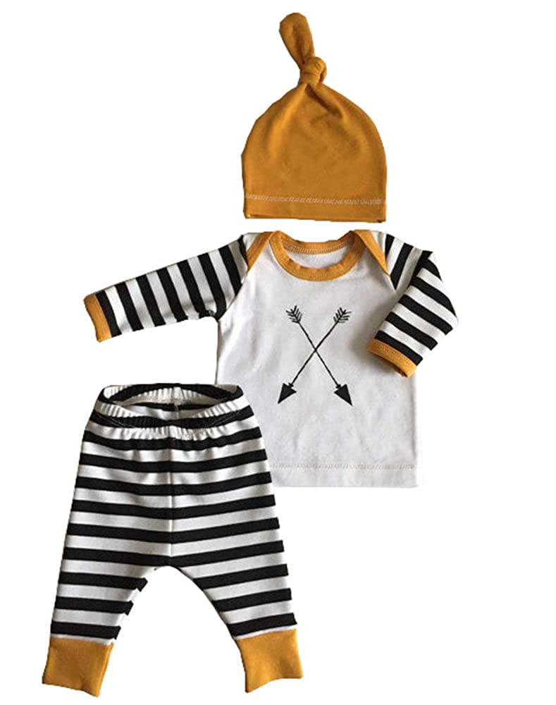 3Pcs/Set Newborn Baby Girl Boy Striped Long Sleeve Tops Pant Hat Outfits Clothes Aliven
