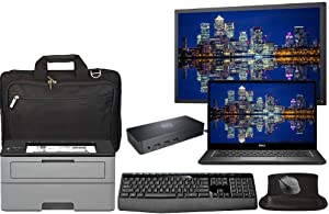 Dell Latitude 7490 Office Laptop Bundle with 24 Inch Monitor, Printer, Docking, Keyboard, Mouse, Laptop Bag, Intel i5-8250U Quad Core, 8GB RAM, 250GB SSD, Win 10 Pro, Office 365