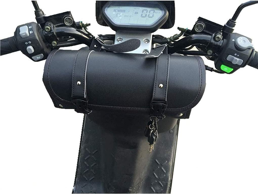 Morza Motorcycle Fork Bag Handlebar Leather Tool Pouch Roll Barrel Bags for Yamaha Kawasaki