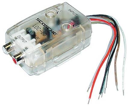 amazon com: scosche loc80 car stereo speaker 2-channel audio adjustable  level lineout converter: car electronics