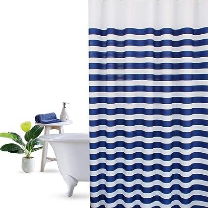 Amazon UFRIDAY Navy Blue Ombre PEVA Shower Curtain Luxury