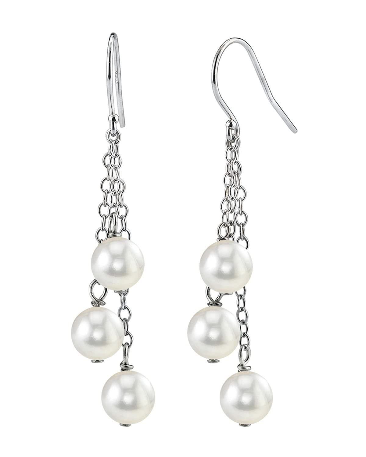 14K Gold 7mm White Freshwater Cultured Pearl Cluster Earrings