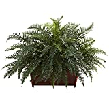 Nearly Natural 6804 River Fern with Wood Planter