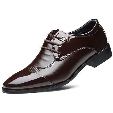 LEDLFIE Chaussures en Cuir pour Hommes Chaussures De Sport Business Joker Chaussures en Cuir,Red-38