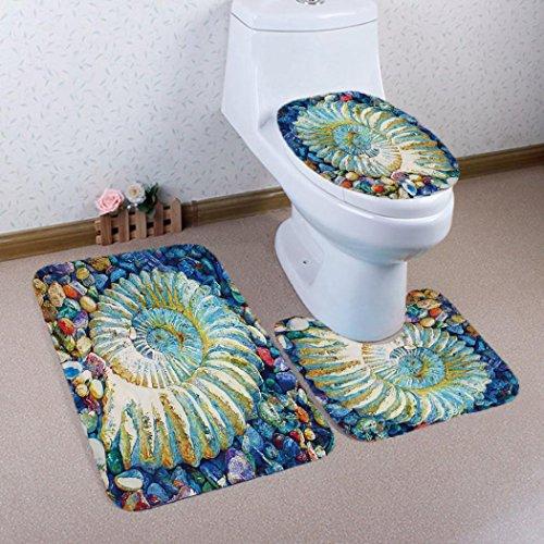 Floor Standing Bidet Set (Mikey Store 3PCS Bathroom Non-Slip Pedestal Rug + Lid Toilet Cover + Bath Mat Set (B))