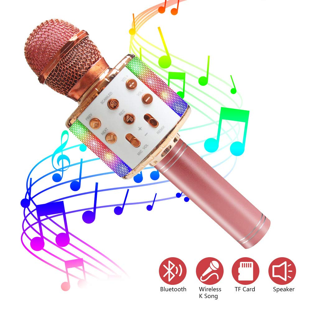 Wireless Bluetooth Karaoke Microphone with Dynamic LED Light, 5 in 1 Portable Handheld Karaoke Speaker Microphone Machine Home KTV Player Music Recorder, for Smartphone Birthday Home Party (Rose Gold) by ZMLM