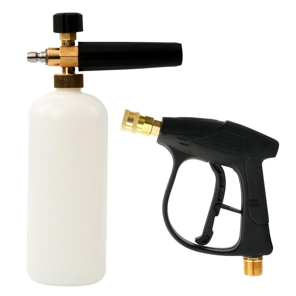 TOOGOO 1/4 inch Pressure Snow Foam Washer Jet Car Wash Adjustable Lance Soap Spray with Pressure Washer Gun