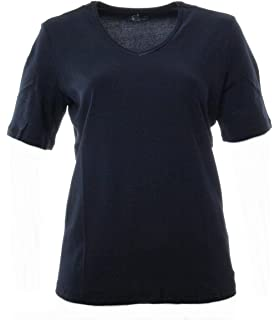 335d9cf903066d No Secret Damen T-Shirt Marine-Blau Kurzarm Große Größen V-Ausschnitt  Baumwolle