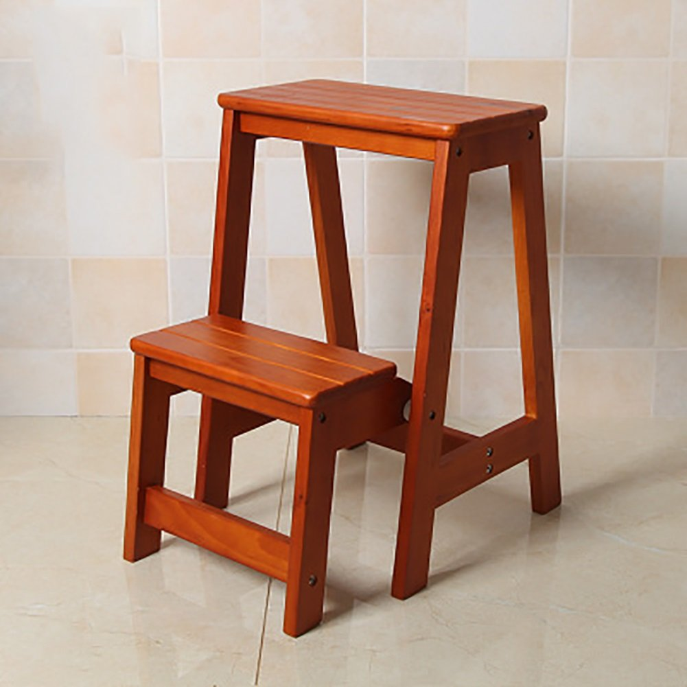 A DNSJB High Wooden Bench Kitchen Step Stool Seat Foldable Ladder Chair Multifunction Portable Household (color   A)