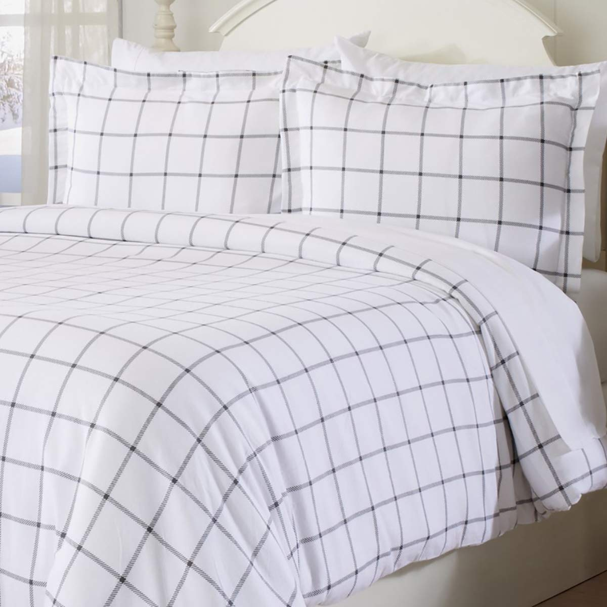 Extra Soft Printed Flannel Duvet Cover with Button Closure. 100% Turkish Cotton 3-Piece Set with Pillow Shams. Belle Collection (Twin, Windowpane - White/Grey)