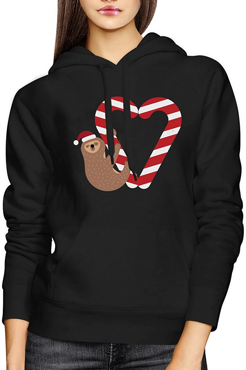 365 Printing Candy Cane Sloth Christmas Hoodie Holiday Unisex Hooded Sweatshirt