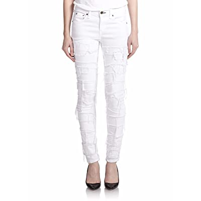Rag & Bone Distressed Skinny Jean - Torn White Size 31 at Women's Jeans store