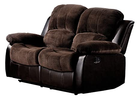 Homelegance 9700FCP-2 Double Reclining Loveseat Brown Plush Microfiber  sc 1 st  Amazon.com : microfiber reclining loveseat with console - islam-shia.org