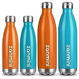 zanmini Cola Vuoto Isolato Bottiglia d' Acqua, a Doppia Parete in Acciaio Inox – Bottiglia con 24 Ore di Caldo e 12 – 500 ml, 750 ml per Escursionismo e Campeggio (Arancione 750ml)