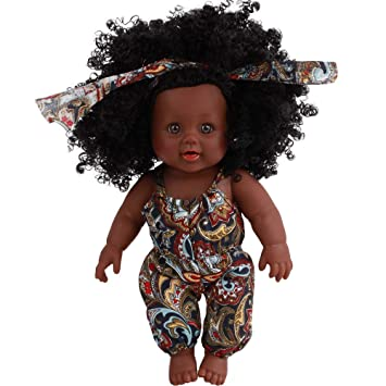 Muñeca Afroamericana Suave de la Niña Cuerpo de Vinilo de Silicona Realista