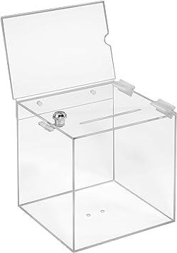 Zeigis/® Gewinnspielbox//transparent Spendenbox//Aktionsbox durchsichtig//Acryl Plexiglas/® Losbox aus Acrylglas in 150x150x150mm mit Topschild DIN A6 Quer