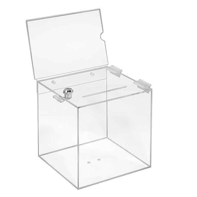 Votaciones de acrílico cristal en 200 x 200 x 200 mm con candado y topschild DIN A5 horizontal - zeigis®/Dona Caja/caja/sorteo bicicletaDerbystar parte ...