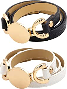 Juland 2PCS Punk Style Leather Bracelet Rose Gold Metal Wristbands Two Layer Wide Belt Cuff Bangle Rock Wrap for Women Girl – Black and White