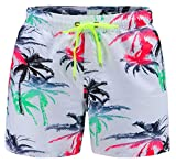 EBMORE® Mens Swim Trunks Shorts Quick Dry with Pockets Mesh Lining for Beach Surfing Sport Swimming Training Fitness Spa (Coconut Tree, Waist:33''-34'')