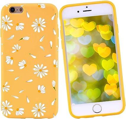 Idocolors Custodia iPhone 6/6s Cover Protettiva Custodia in Silicone TPU per Apple iPhone 6/6s Giallo Backcover Cellulare Fiore Margherita