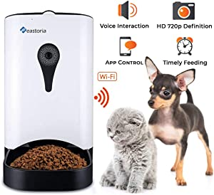 Feastoria Automatic Pet Feeder with HD Camera and 4 Meals Programmable Timer and Voice Recording for Dog and Cat