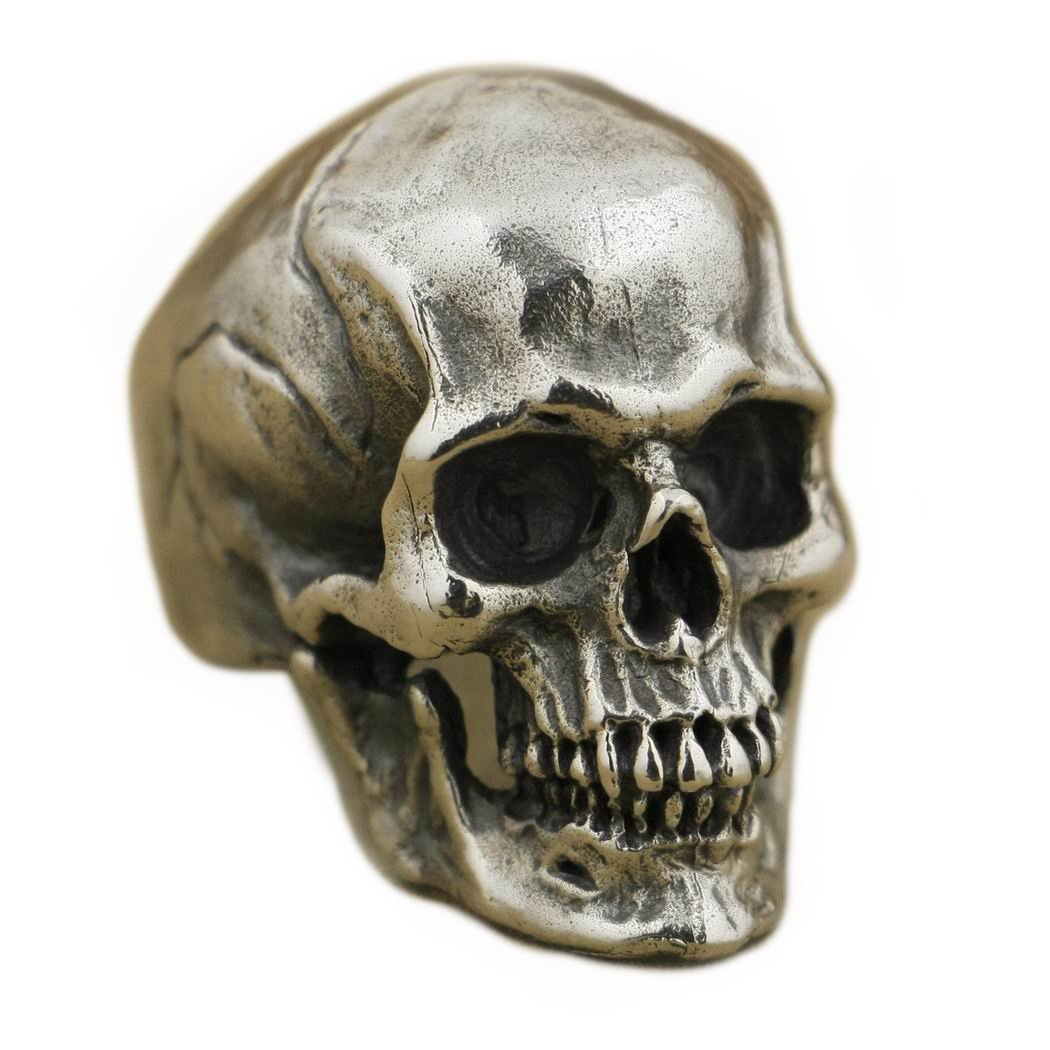 Sterling Silver Highly Detailed Skull Men's Pirate Ring - DeluxeAdultCostumes.com