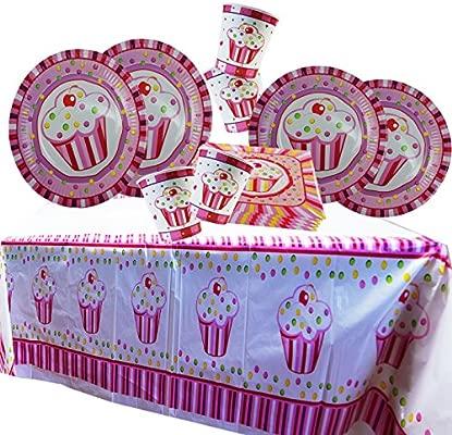 Cotigo-Juego Vajilla Plato Vaso Servillleta Mantel Desechable Set Cumpleaños Set de Articulo Fiesta para 24 persona Diseño Capcula Niñas