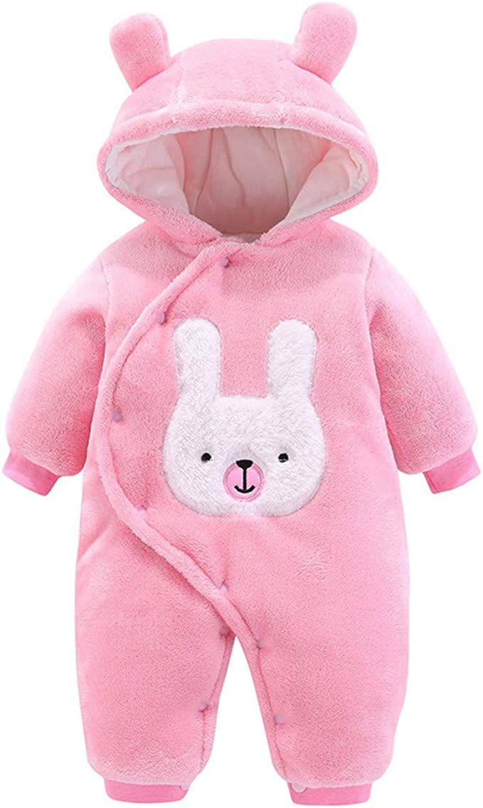 Bodysuit Outfits for 0-12 Months Babies Homeriy Newborn Baby Cartoon Bear Snowsuit Warm Fleece Hooded Romper Jumpsuit