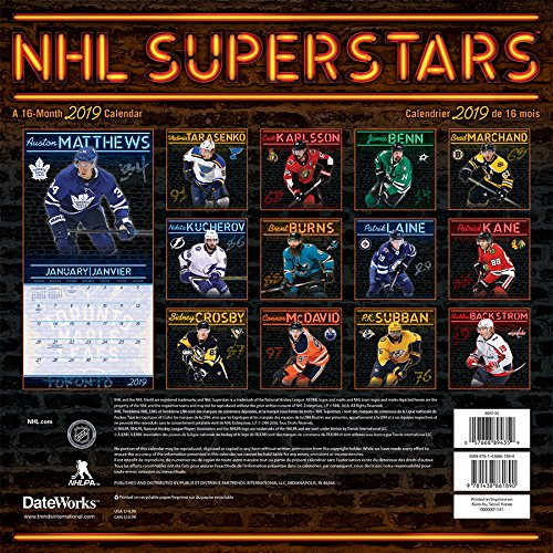 2019 NHL Superstars Wall Calendar (English and French Edition)