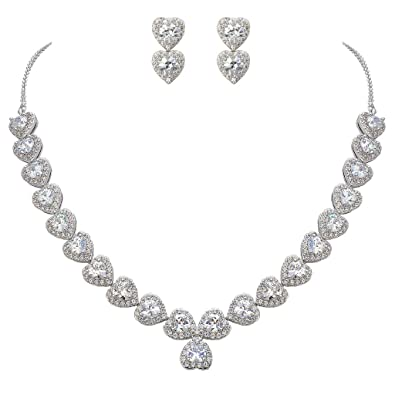 EVER FAITH® Women's Cubic Zirconia Floral Leaf Necklace Earrings Set Silver-Tone