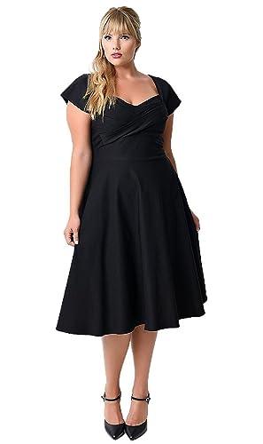 Abito da donna, taglia comoda, stile Audrey Hepburn anni 50, modello pinup Black 54