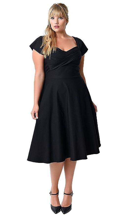 Vestido para mujer, talla grande, estilo vintage de los años 50 inspirado en Audrey Hepburn, falda de vuelo tipo pin-up rockabilly negro negro 54: ...