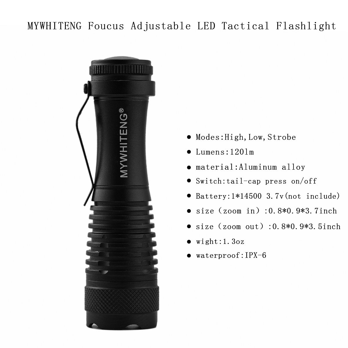 Hunting Outdoor Little Torch for Kids Hiking Blackouts Camping MYWHITENG LED Flashlight Portable Super Bright Flashlight with Lighting Modes Running Black