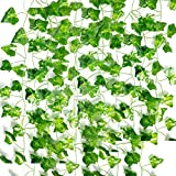 Roffel Greenery Garland - 16 Pack 110 Ft Artificial Plants Fake Vines Ivy Garland Leaves Hanging Plants for Wedding Party Garden Office Wall Decoration