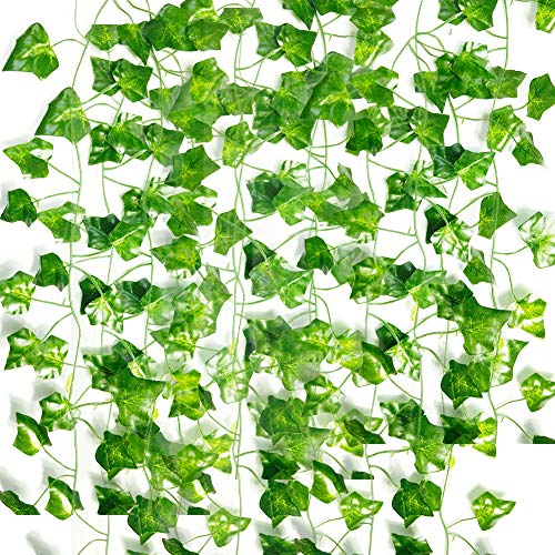 12 Pack 83 Ft Artificial Ivy Leaf Plants Fake Vines Greenery Ivy Garland Hanging Fake Foliage for Wedding Party Garden Office Wall -