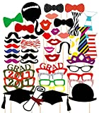 2017 Style Graduation Party Masks Photo Booth Props Mustache On A Stick for Grad Party (46 PCS)