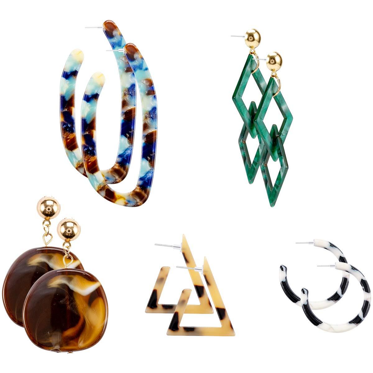 Resin Bohemian Statement Hoop Earrings Set for Women Girls Fashion Jewelry Cosweet 5 Pairs Lightweight Mottled Acrylic Drop Earrings