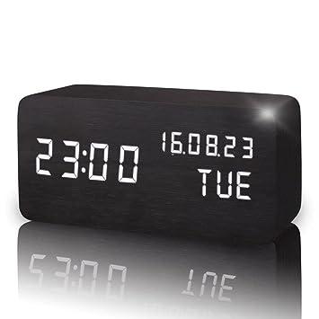 $ Reloj Despertador Digital Reloj LED Cubo Madera Reloj de Escritorio Dormitorio Sala de Estar Reloj de Chimenea: Amazon.es: Hogar