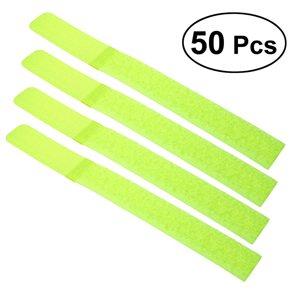 WINOMO 50Pcs Reusable Fastening Cable Ties Nylon Cable Straps Wrapper For Earphone Wrap Winder Wire Ties Fluorescent Green