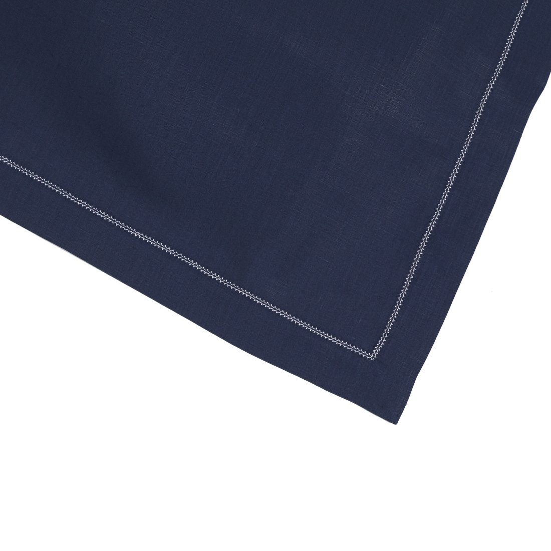 Navy Blue Pure Linen Placemat With Ivory Contrast Hemstitch (Set of Six) by Huddleson Linens (Image #2)