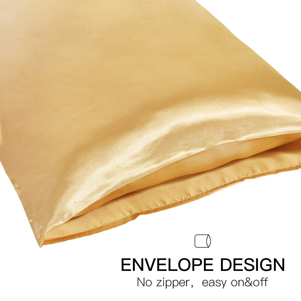 Duerer Two-Pack Satin Pillowcases Cool and Easy to Wash for Hair and Skin with Envelope Closure,Standard//Queen//King Size 20x26,Black