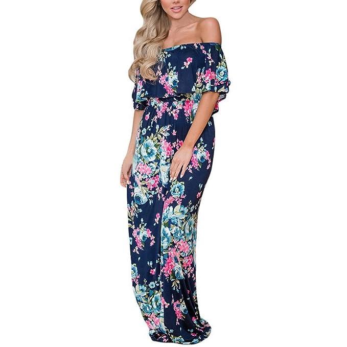 Vestidos Mujer Verano 2018 Corto Floral Vestido Largo Fiesta Mujer Elegante Vestido de Playa Casual Vestir Ropa Sexy Vestido Fuera del Hombro Vestidos de ...
